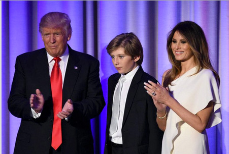 Donald J. Trump, President Elect, and family after 2016 win