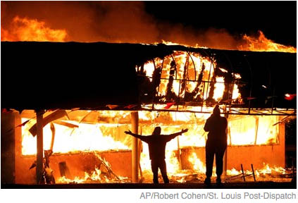 Burning of Juanita's Fashio R Boutique in Ferguson, MO