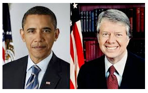 Former U.S. Presidents Barack Obama and Jimmy Carter