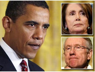 Obama with Pelosi and Reid