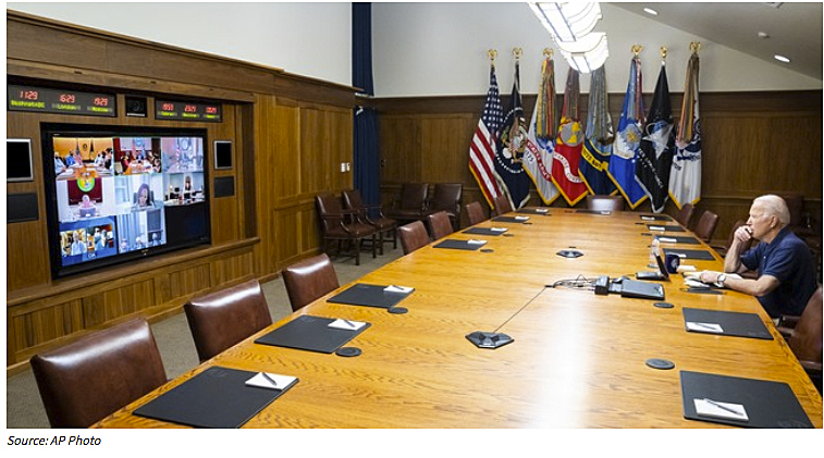 Biden on video conference call